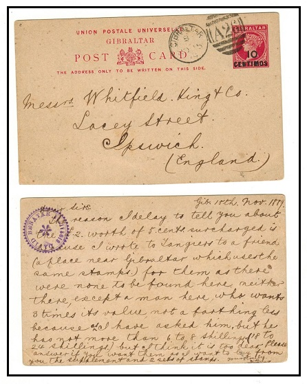 GIBRALTAR - 1889 10c on 1d rose PSC to UK.  H&G 10.