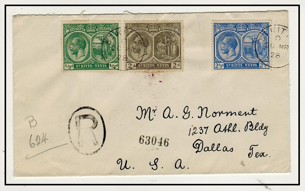 ST.KITTS - 1928 multi franked registered cover to USA.