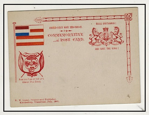 TRANSVAAL - 1901 ANGLO BOER WAR/RULE BRITANNIA private printed postcard depicting OFS flag.