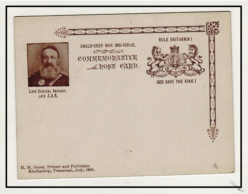 TRANSVAAL - 1901 ANGLO BOER WAR/RULE BRITANNIA private printed postcard depicting Joubert.