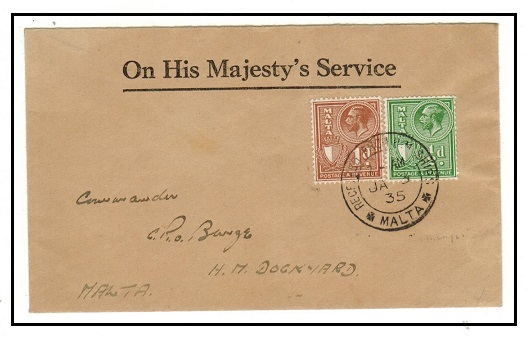 MALTA - 1935 1 1/2d OHMS cover use to the Dockyard cancelled RECEIVED FROM H.M.SHIPS/MALTA.