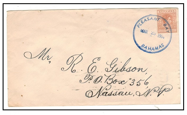 BAHAMAS - 1954 KGVI 1 1/2d rate local cover used at PLEASANT BAY.