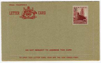 NORFOLK ISLAND - 1959 Australia 4d FORMULA PS letter card uprated with 3 1/2d adhesive.