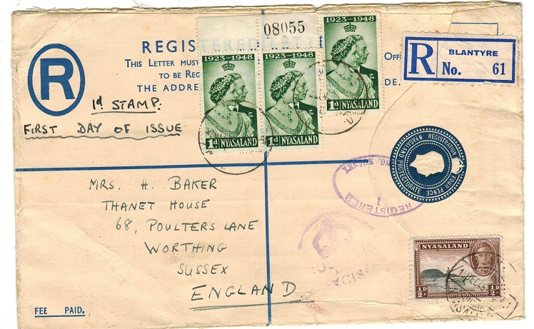 NYASALAND - 1938 4d RPSE used to UK from BLANTYRE.  H&G 3b.