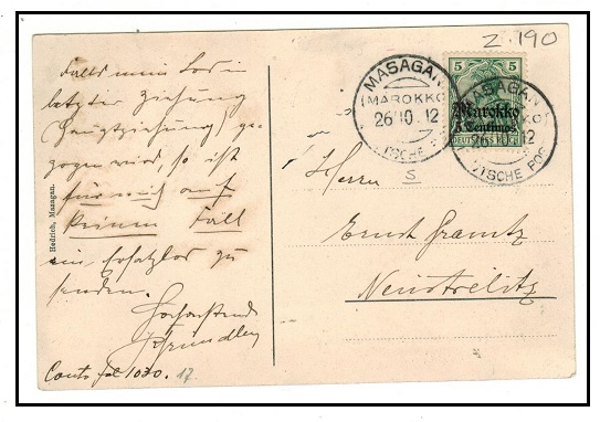 MOROOCO AGENCIES - 1912 5c on 5pfg postcard use to Germany used at MASAGAN/MAROKKO.
