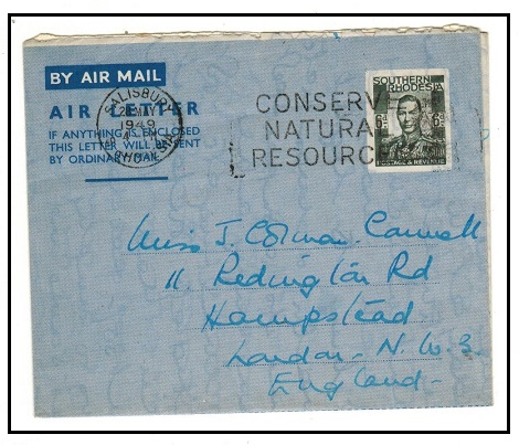 SOUTHERN RHODESIA - 1948 6d dark greenish grey postal stationery air letter to UK. H&G 4.