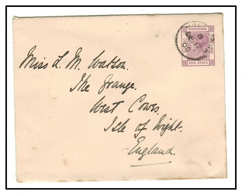 HONG KONG - 1900 5c lilac PSE addressed to UK.  H&G 4.