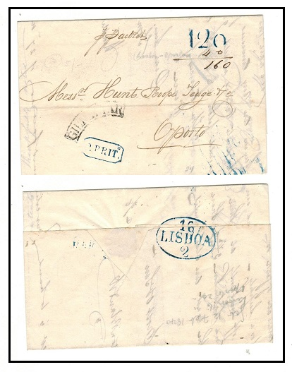 GIBRALTAR - 1840 stampless entire to Oporto in Portugal taken overland.