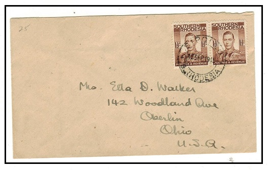 SOUTHERN RHODESIA - 1945 3d rate cover to USA used at SIPOLILO.