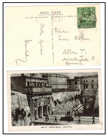 MALTA - 1938 1/2d rate postcard use to Germany.