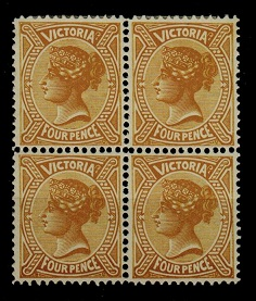 AUSTRALIA (Victoria) - 1900 4d bistre-yellow mint block of four.  SG 379.