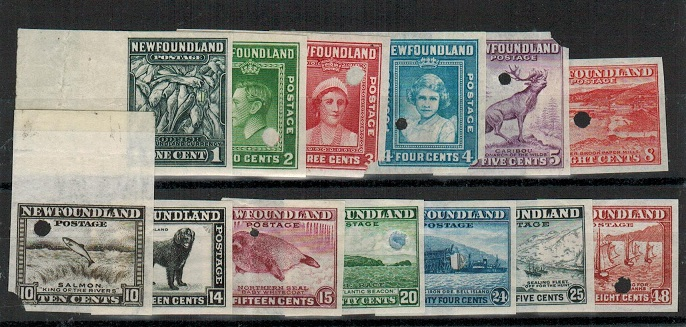 NEWFOUNDLAND - 1941 set (ex 7c) in IMPERFORATE PLATE PROOFS.