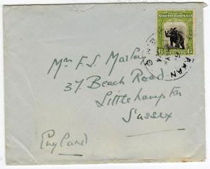 NORTH BORNEO - 1924 6c SANDAKAN cover to UK.