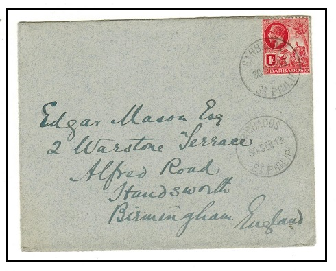 BARBADOS - 1914 1d rate cover to UK used at ST.JAMES.