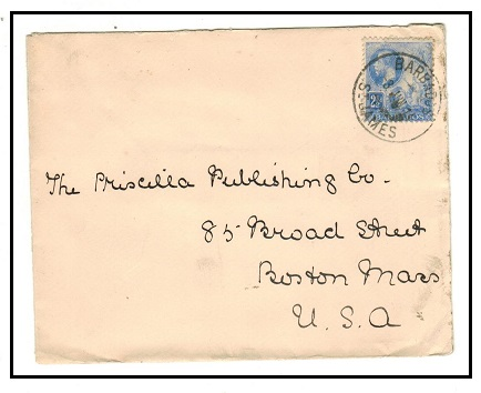 BARBADOS - 1913 2 1/2d rate cover to USA used at ST.PHILIP.