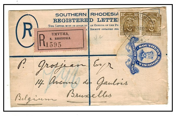 SOUTHERN RHODESIA - 1924 4d ultramarine RPSE uprated to Belgium used at UMVUMA.  H&G 1.