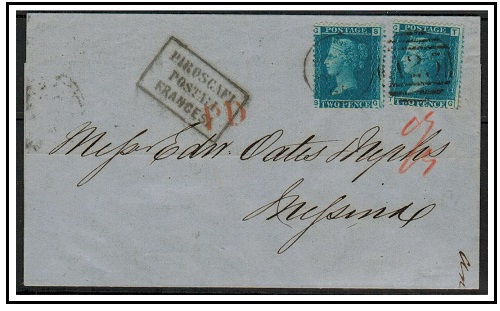 MALTA - 1865 4d rate cover to Italy bearing two GB 2d blue (plate 9) adhesives.
