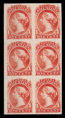 CANADA - 1855 1c red BILL STAMP in a IMPERFORATE PLATE PROOF block of six.