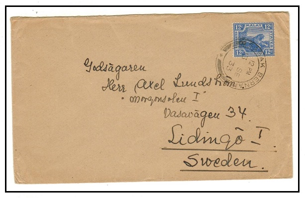 MALAYA - 1933 12c rate cover to Sweden used at SABAK BERNAM.