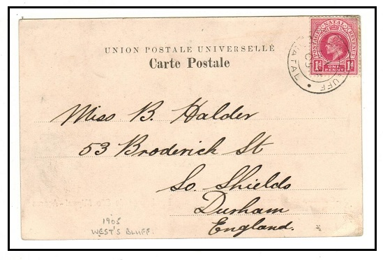 NATAL - 1905 1d rate postcard use to UK used at WEST