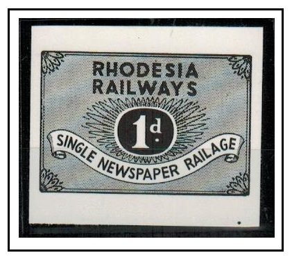 RHODESIA - 1957 1d IMPERFORATE PLATE PROOF of the