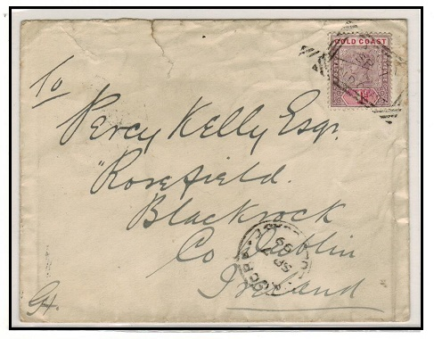 GOLD COAST - 1899 1d rate cover to Ireland cancelled by scarce