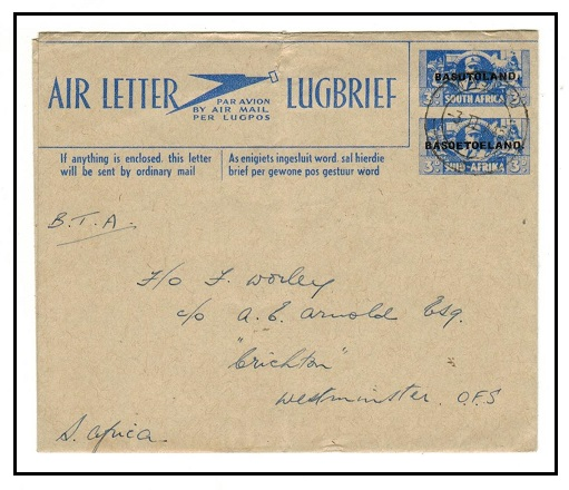 BASUTOLAND - 1944 3d+3d blue air letter to South Africa (no message).  H&G 1.