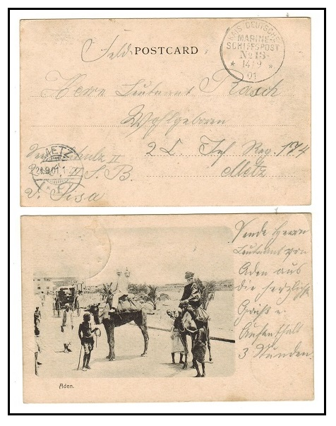 ADEN - 1901 stampless postcard used to Germany on SCHIFFSPOST/No.13 maritime boat.