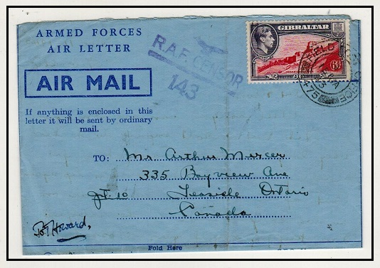 GIBRALTAR - 1943 6d rate FPO/475 use of
