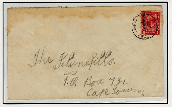 BECHUANALAND - 1930 1d rate cover to Cape Town used at MAHALAPYE.
