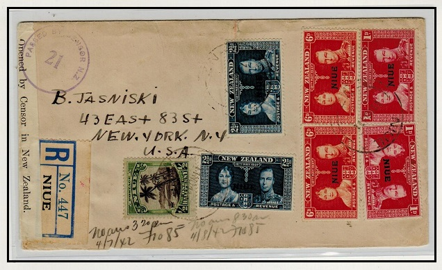 NIUE - 1941 registered cover to USA censored in transit at Auckland.