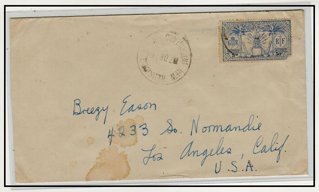 NEW HEBRIDES - 1928 5d(50c) rate cover to USA used at NEW HEBRIDES/INTERISLAND SERVICE.