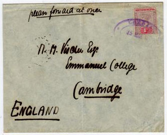 NORTHERN NIGERIA - 1900 LOKOJA POST OFFICE violet oval strike on cover to UK.