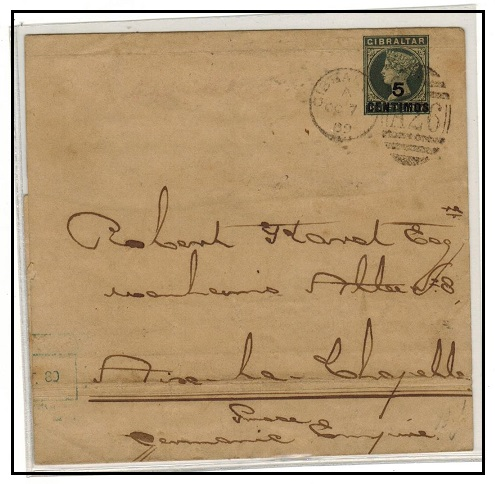 GIBRALTAR - 1889 5c on 1/2d green postal stationery wrapper to Germany.  H&G 4.