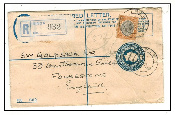 TANGANYIKA - 1928 30c blue RPSE uprated to UK used at IRINGA.  Unlisted by H&G in this size.