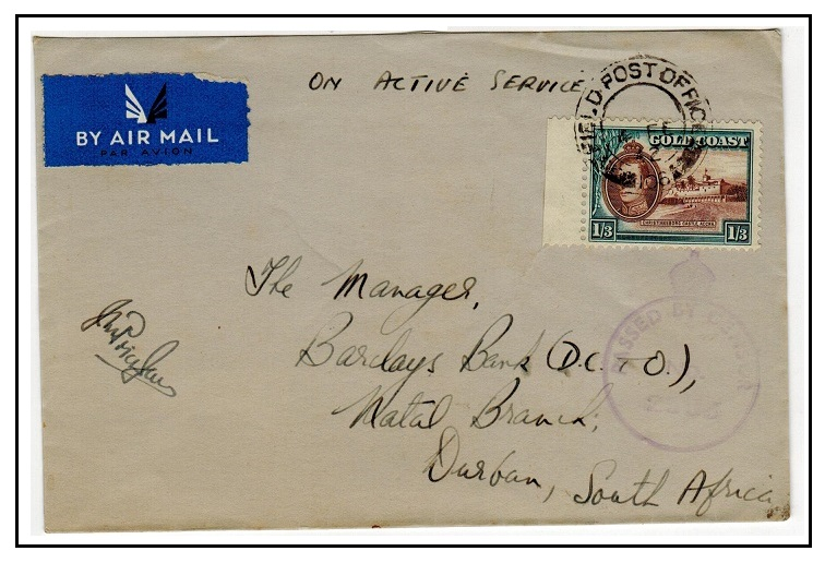 GOLD COAST - 1942 1/3d rate censored cover to South Africa used at FIELD POST OFFICE/109.