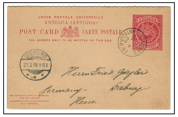 ANTIGUA - 1903 1d+1d carmine rose PSRC to Germany used at ST.JOHNS.  H&G 8.
