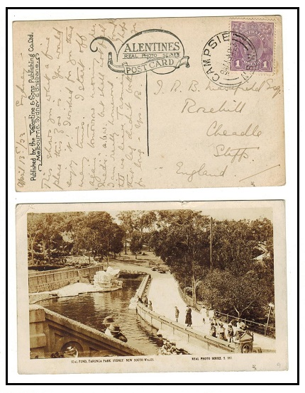 AUSTRALIA - 1923 1d rate postcard use to UK used at CAMPSIE/NSW.