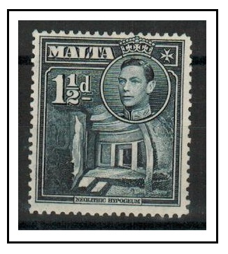 MALTA - 1943 1 1/2d slate black fine mint with