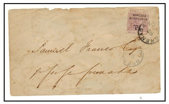 GRENADA - 1892 local cover use (faults) with 1d on 6d surcharge