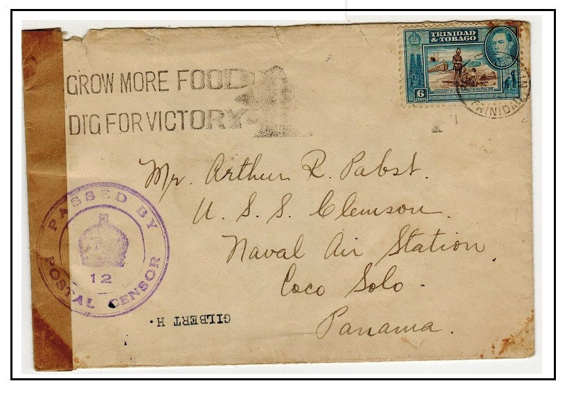 TRINIDAD AND TOBAGO - 1941 6c rate cover to Panama struck