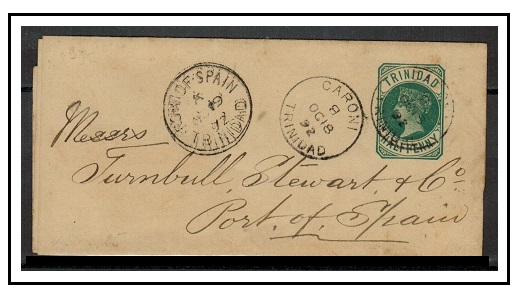 TRINIDAD AND TOBAGO - 1884 1/2d green postal stationery wrapper used locally at CARONI.  H&G 1.
