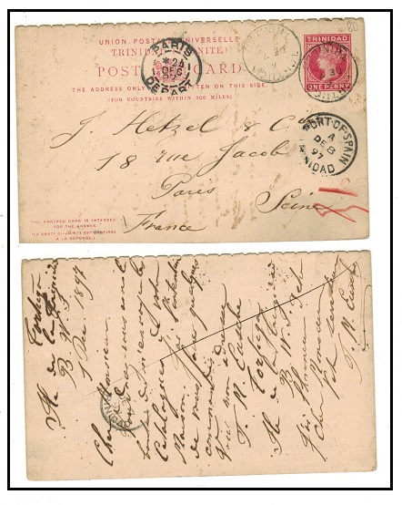 TRINIDAD AND TOBAGO - 1884 outward section of 1d+1d PSRC to France used at TORTUCA.  H&G 6.