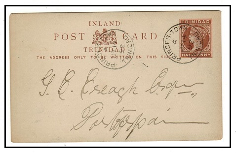 TRINIDAD AND TOBAGO - 1884 1/2d reddish brown PSC used locally at PRINCES TOWN.  H&G 2.