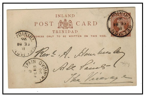 TRINIDAD AND TOBAGO - 1884 1/2d reddish brown PSC used locally at BELMONT.  H&G 2.