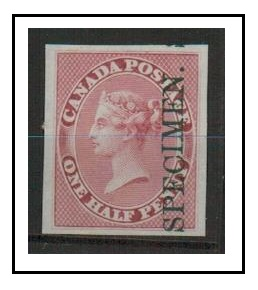 CANADA - 1857 IMPERFORATE PLATE PROOF in deep rose overprinted SPECIMEN.