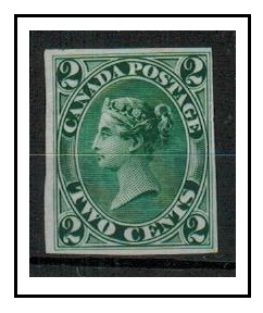 CANADA - 1857 IMPERFORATE PLATE PROOF in green.