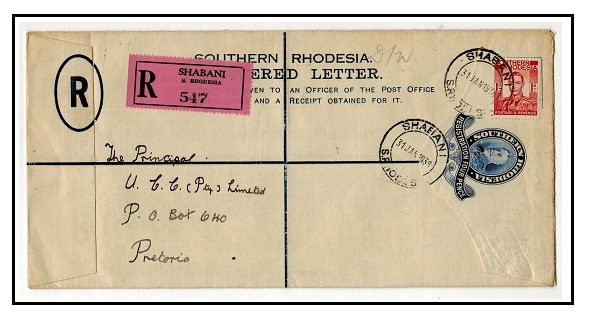 SOUTHERN RHODESIA - 1931 4d dark blue RPSE to Pretoria used at SHABANI.  H&G 2a.