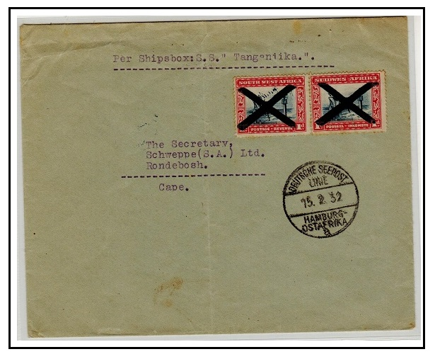 SOUTH WEST AFRICA - 1932 2d rate German maritime cover to Cape.