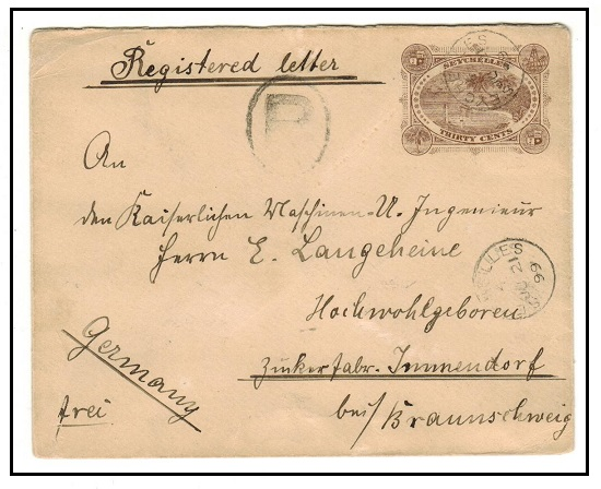 SEYCHELLES - 1895 30c brown PSE registered to Germany.  H&G 3.